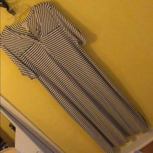 Chico's maxi dress white navy stripe